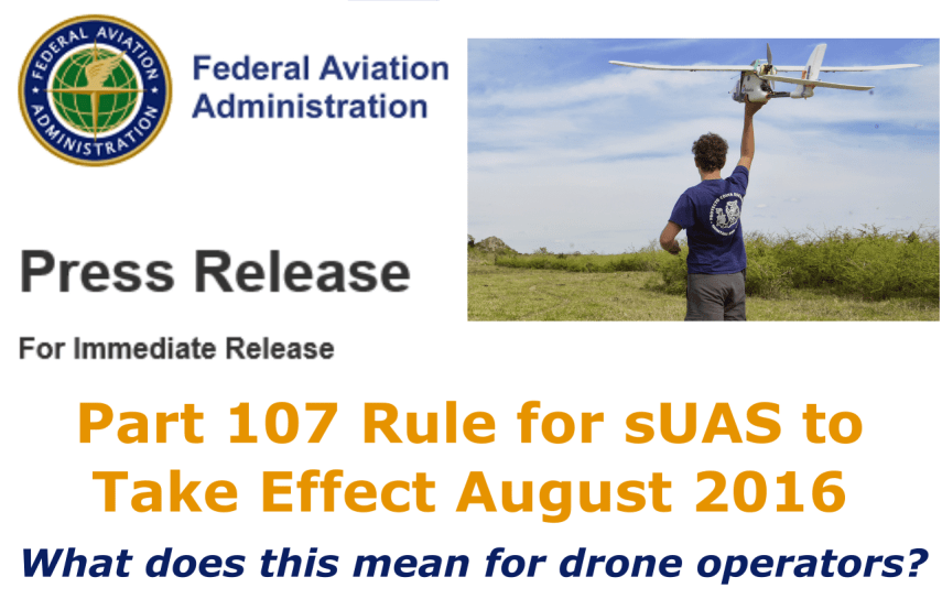 New FAA Regulations for Commercial Drones Announced to Take Effect August 2016