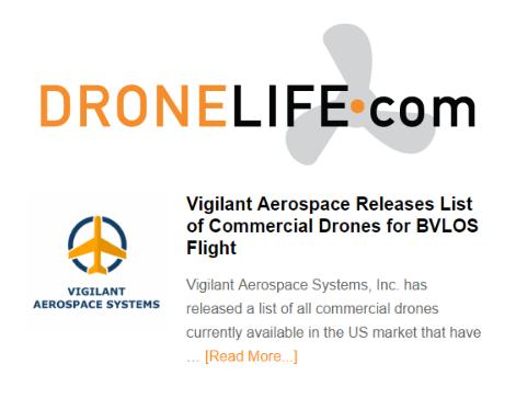 Vigilant Aerospace BLOS Drone List Featured in DroneLife