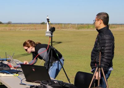 Vigilant Aerospace Systems' team setting up FlightHorizon and receivers for the flight operations at OSU's Unmanned Aircraft Flight Station.
